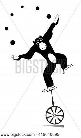 Equilibrist Monkey Rides On The Unicycle And Juggles The Balls Illustration. Cute Monkey Balances On