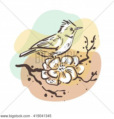 A Small Bird Sits On A Branch With Flowers. Sketchy Art On A Background Of Colored Spots. Drawing In