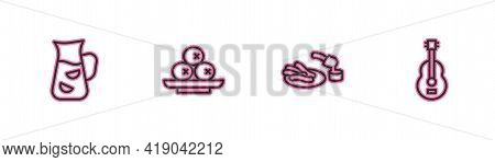 Set Line Sangria, Churros And Chocolate, Olives On Plate And Spanish Guitar Icon. Vector
