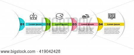 Set Line Crown Of Spain, Cheese, Churros And Chocolate And Picture Art. Business Infographic Templat