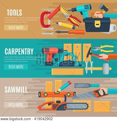 Horizontal Carpentry Flat Banners Set Of Woodworker Tools Kit And Sawmill Equipment Vector Illustrat