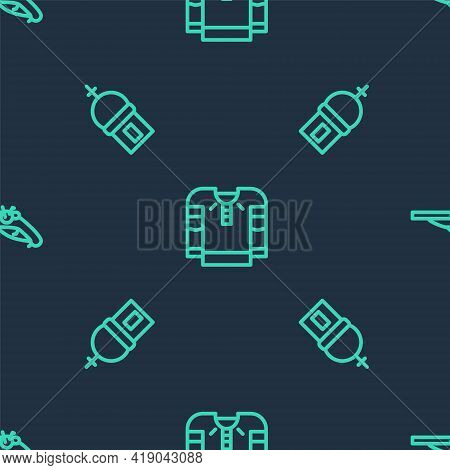 Set Line Embroidered Shirt, Church Tower And Vintage Pistols On Seamless Pattern. Vector
