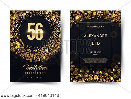 56th Years Birthday Vector Black Paper Luxury Invitation Double Card. Fifty Six Years Wedding Annive
