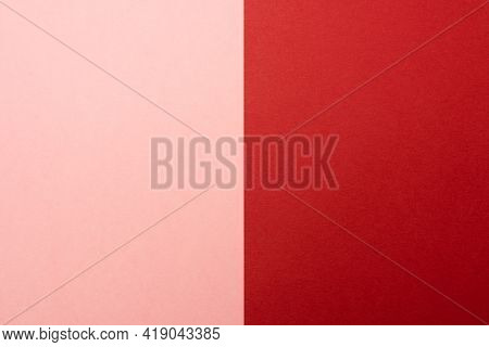 Abstract Background Of Two Vertical Rectangles Red And Pink. Sheets Of Blank Red And Pink Paper With
