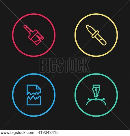 Set Line Torn Document, Fountain Pen Nib, Pipette And Paint Brush Icon. Vector