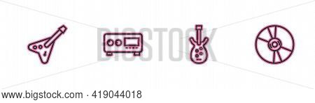 Set Line Electric Bass Guitar, , Guitar Amplifier And Cd Or Dvd Disk Icon. Vector