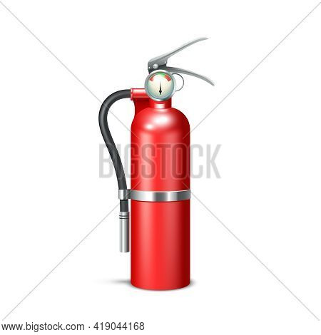 Red Realistic Fire Extinguisher Isolated On White Background Vector Illustration