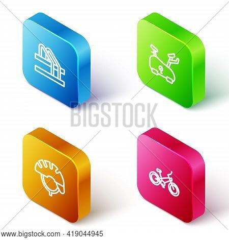 Set Isometric Line Bicycle Parking, Stationary Bicycle, Helmet And Icon. Vector
