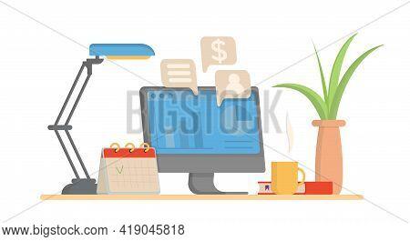 Workplace Vector Banner Illustration. Vector Freelancer Workplace Flat Design.