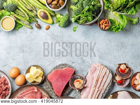 Selection Of Healthy Food, Copy Space, Top View