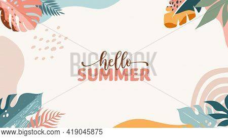 Bohemian Summer, Modern Summer Sale Background And Banner Design Of Rainbow, Flamingo, Pineapple, Ic