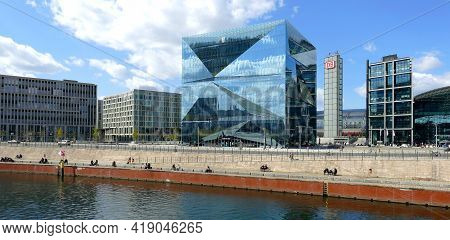 Berlin, Germany, April 23, 2021, Berlin-cube - Innovative Office Building Between The Main Station A