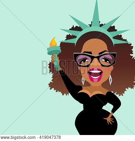 May 1, 2021. Caricature Of Celebrity Oprah Winfrey As The Statue Of Liberty. Vector Illustration.