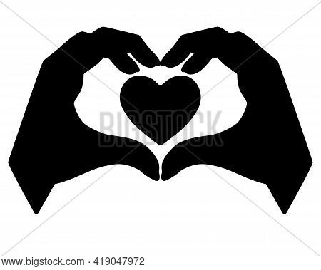 Hands Show Gesture - Heart With Heart Inside - Vector Silhouette For Logo Or Pictogram. Heart Sign S