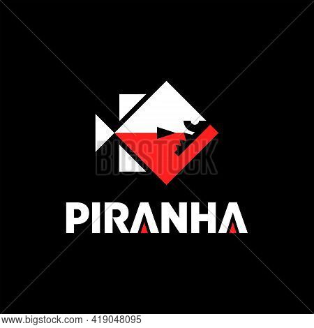 Piranha Logo Design Geometric Fish Vector For Animal Business Mascot Or Fauna Sticker Template Eleme