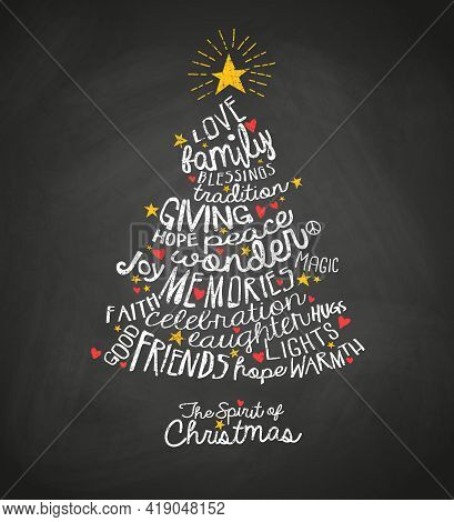 Holiday Greeting Card With Inspiring Handwritten Words In Christmas Tree Shape With Blackboard Backg