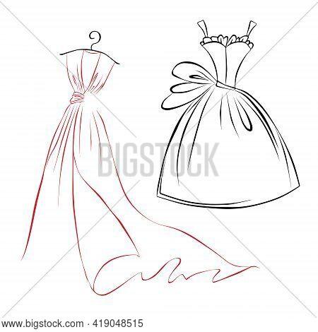 Fashion Boutique Dress With Shoulder Hanger, Vector Illustration. Clothes Hanger, Tailor Logo Design