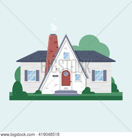 House Facade. Wooden Cottage, Modern Architecture. Idea Of Real Estate. Front View Of The Building.