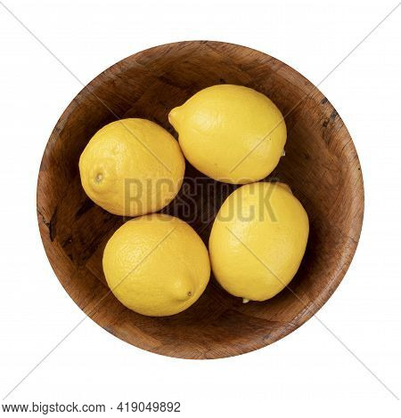 Sicilian Lemons In A Bowl Isolated Over White Background.
