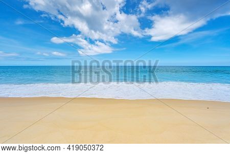 Summer Background Of Beautiful Sandy Beach Wave Crashing On Sandy Shore Landscape Nature View Romant