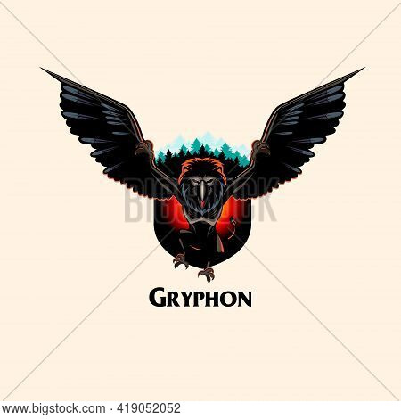 Gryphon Monster Vector Illustration Insignia Style All Layers Are Separated And Editable