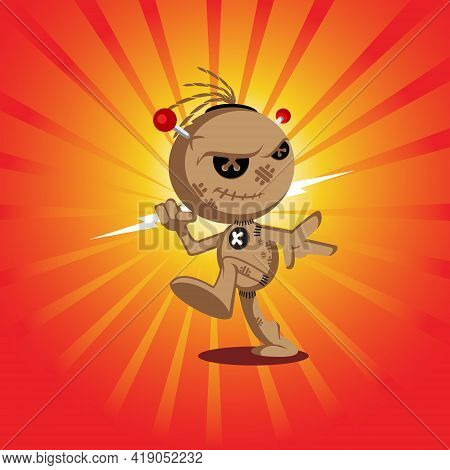 Voodoo Doll Version 2 Vector Illustration For Halloween Theme, T-shirt Print Or Any Other Purpose.