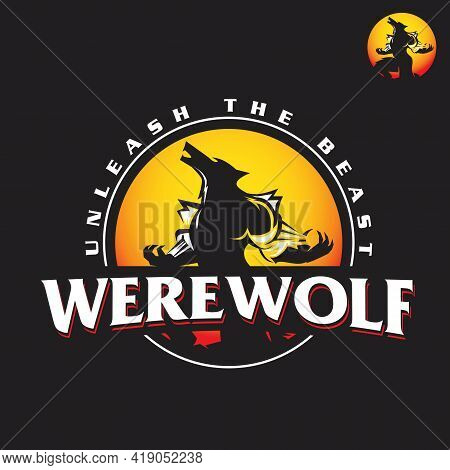Werewolf Logo, This Logo Has Some Separated Layers Between Graphic And Text