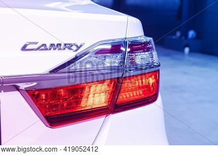 Novosibirsk, Russia - April 25 2021: Toyota Camry, Detail Light  Taillight Close Up Of On New Car. E