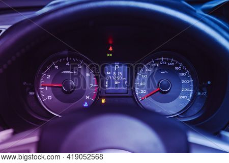 Novosibirsk, Russia - April 25 2021:subaru Forester, Dashboard Of The Car Is Illuminated By Bright I