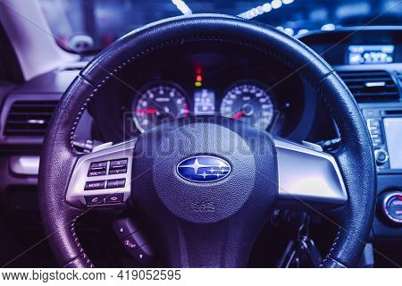 Novosibirsk, Russia - April 25 2021:subaru Forester,  Dashboard, Player, Steering Wheel With Logo An
