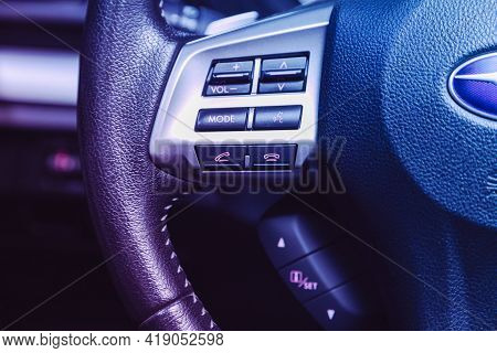 Novosibirsk, Russia - April 25 2021:subaru Forester, Black Steering Wheel With Multifunction Buttons