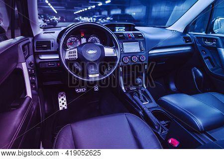 Novosibirsk, Russia - April 25 2021:subaru Forester, Salon Of A New Stylish Car, Steering Wheel , Da