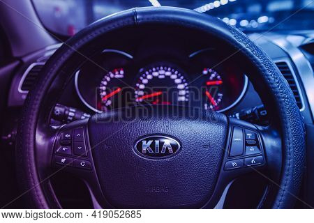 Novosibirsk, Russia - April 25 2021:kia Sorento,  Dashboard, Player, Steering Wheel With Logo And Bu