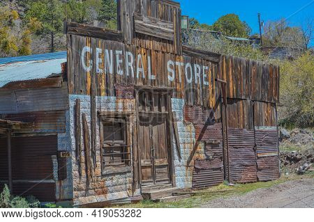 The General Store At Mogollon Ghost Town. Mogollon Historic District Is A Wildest Mining Town In Mog