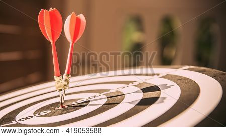 Bullseye Target Or Dart Board Has Red Dart Arrow Throw Hitting The Center Of A Shooting For Business