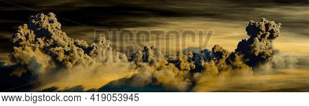Panorama Of Cumulus Clouds At Night - Concept Nature 3d Illustration
