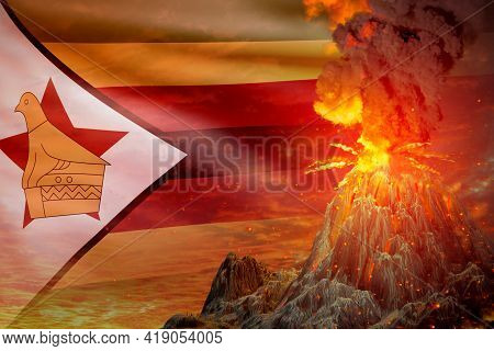 High Volcano Blast Eruption At Night With Explosion On Zimbabwe Flag Background, Troubles Because Of