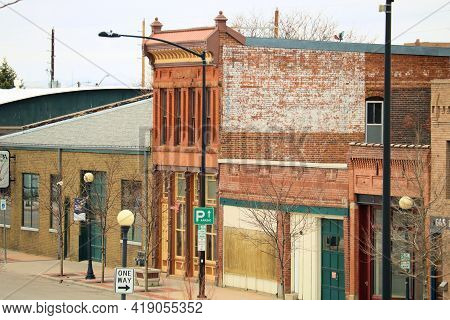 April 26, 2021 In Cheyenne, Wy:  Vintage Buildings On A Street In Downtown Cheyenne, Wy Where The Pu