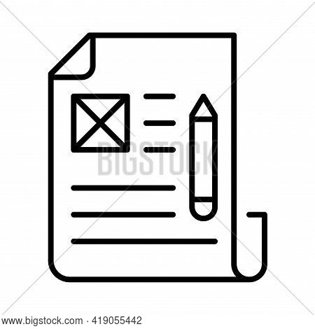 Monochrome Article Icon Vector Illustration. Linear Logo Of Paper Document Writing Correspondence
