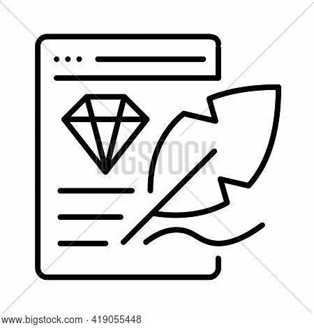 Linear Content Creation Icon Vector Illustration Social Media Communication Blogging Or Journalism