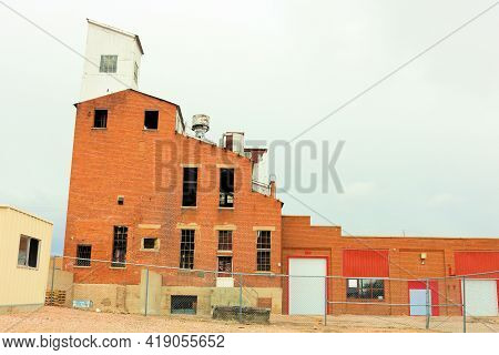 Abandoned Dilapidated Grain Elevator Building Taken At An Economically Depressed Community In The In