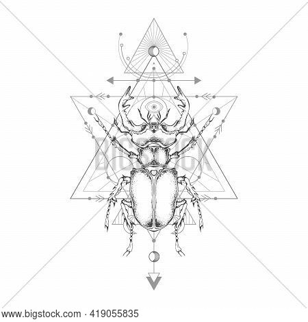 Vector Illustration With Hand Drawn Stag Beetle And Sacred Geometric Symbol On White Background. Abs