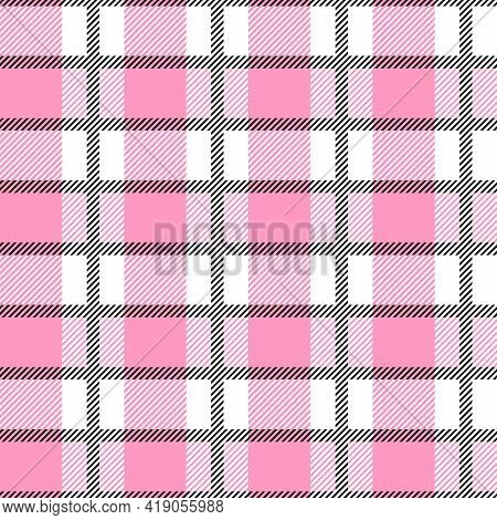 White And Pink Scotland Textile Seamless Pattern. Fabric Texture Check Tartan Plaid. Abstract Geomet