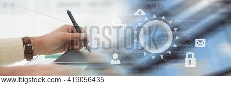 Cropped image of woman hand writing on a notepad at desk in office. with digital office interface concept background. digitally generated image.