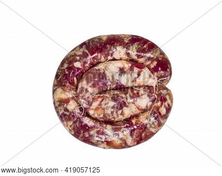 Ring Of Homemade Meat Sausage On A White Plate. Pork Meat. Raw Pork Sausage. Pig Intestine. Greasy S