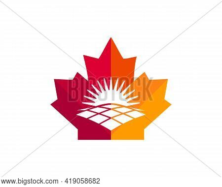 Maple Solar Logo Design. Canadian Solar Logo. Red Maple Leaf With Solar Concept Vector
