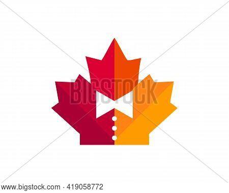 Maple Tie Logo Design. Canadian Tie Logo. Red Maple Leaf With Tie Vector