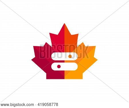 Maple Toggle Logo Design. Canadian Toggle Logo. Red Maple Leaf With Toggle Switch Vector