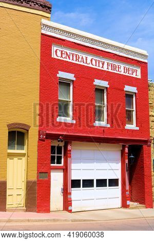 April 26, 2021 In Central City, Co:  Fire Station Within A Historical Building On A Street Taken In