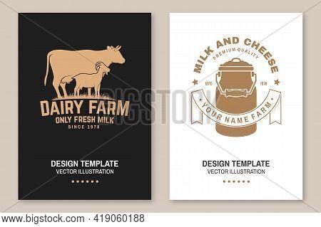 Dairy Farm. Only Fresh Milk Badge, Logo. Vector Flyer, Brochure, Banner, Poster Design With Cow, Goa